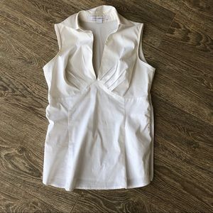 👚Express V-Neck white collared top👚